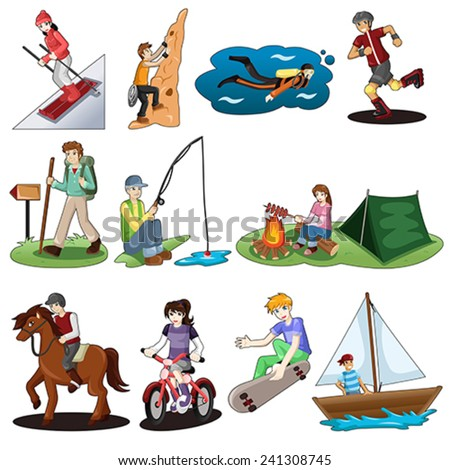 A vector illustration of active people doing outdoor activities  - stock vector