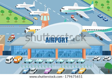 A vector illustration of airport on the outside - stock vector