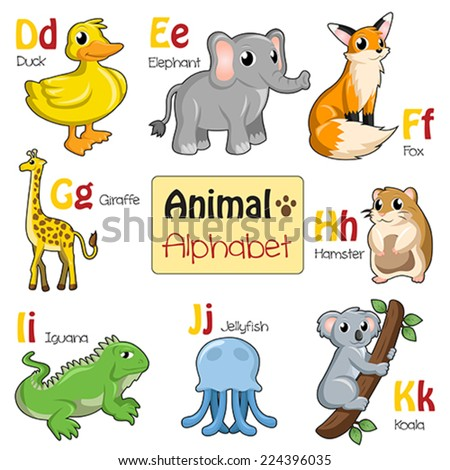 A vector illustration of alphabet animals from D to K - stock vector