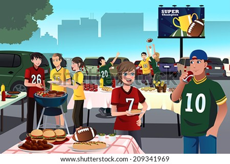 A vector illustration of American football fans having a tailgate party - stock vector