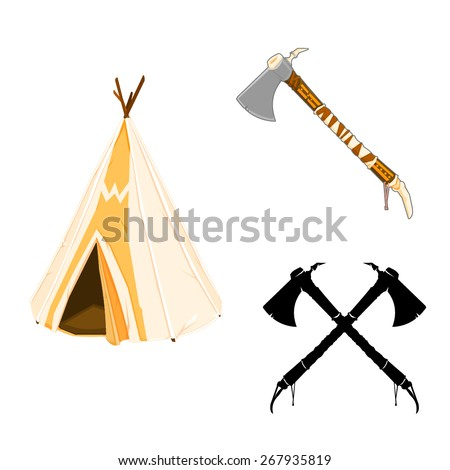 A vector illustration of American Indian Icons. Wild west Icons. - stock vector