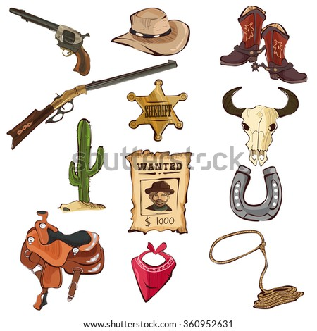 A vector illustration of American old Western icon sets - stock vector