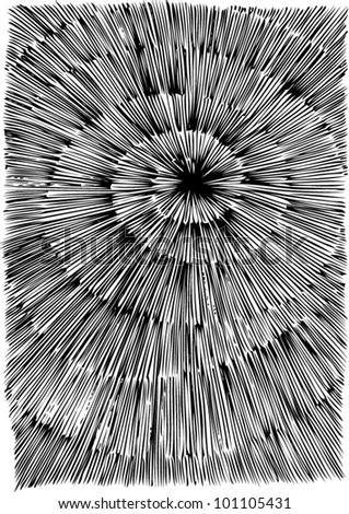 A vector illustration of an abstract black and white 3 dimensional drawing. - stock vector