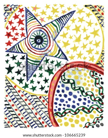 A vector illustration of an abstract colorful ornamental drawing with a star. - stock vector
