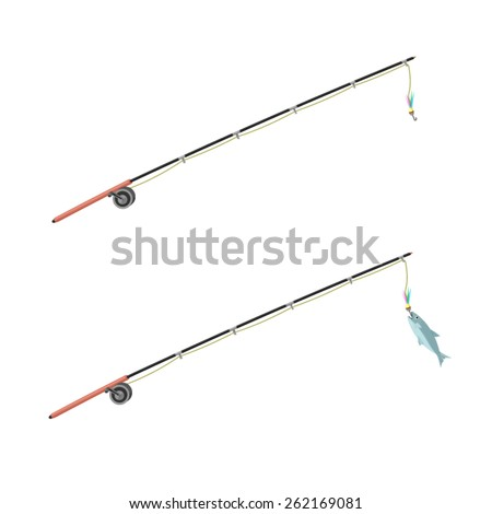 A vector illustration of an anglers fishing rod with fish. Fishing Rod. Anglers fishing rod with a fresh catch. - stock vector