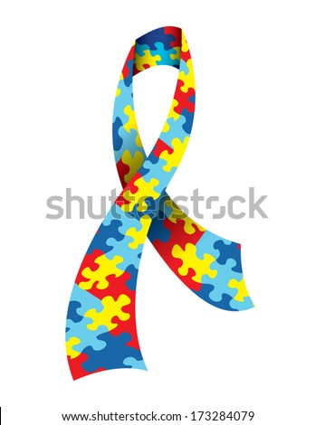 A vector illustration of an Autism Awareness Ribbon made with a symbolic jigsaw puzzle pattern in autism colors. EPS 10. - stock vector