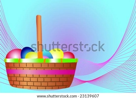 A vector illustration of an Easter basket filled with colorful eggs. - stock vector