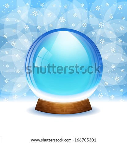 A vector illustration of an empty transparent snow globe with place for your text or object. Includes transparent objects and opacity masks.  - stock vector