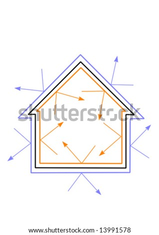 A vector illustration of an energy efficient house with warmth being reflected in and cold kept out - stock vector