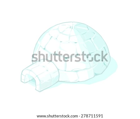 A vector illustration of an igloo home in the tundra. Igloo home icon illustration. Eskimo or Inuit house made of ice. - stock vector