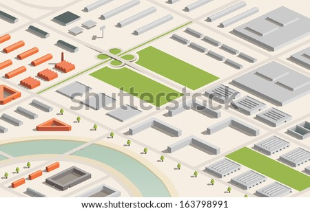 A vector illustration of an industrial city in isometric format. Editable with objects logically layered. City features buildings, trees, highway, factories, etc./Industrial City - stock vector