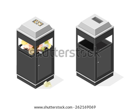 A vector illustration of an isometric bin full and empty. Garbage can. Isometric trash can. - stock vector