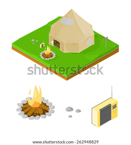 A vector illustration of an isometric camping site with fire and radio. Isometric camping site. Camping tent on grass land with fire. - stock vector