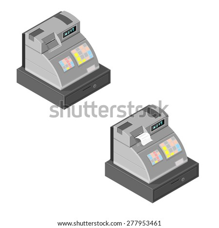 A vector illustration of an isometric cash register. Isometric Cash register illustration Icon. Till with locked box. - stock vector
