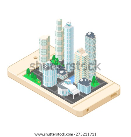 A vector illustration of an isometric city map on a mobile phone. Isometric City Map icon illustration. Urban building map app on mobile device.