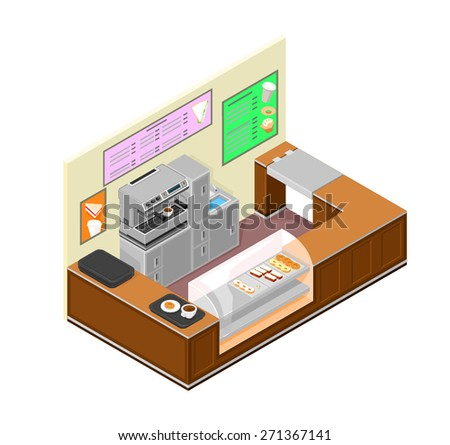 A vector illustration of an isometric deli food counter. Coffee Shop Interior illustration. Food shop store interior. - stock vector