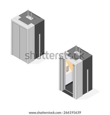 A vector illustration of an isometric elevator. Isometric elevator. A vector elevator with a closed or open door. - stock vector