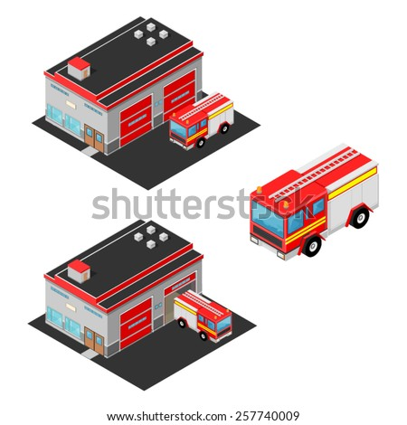 A vector illustration of an isometric firehouse and firetruck. Isometric firehouse and firetruck. Isometric Fire engine and firehouse.  - stock vector