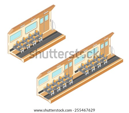 A vector illustration of an isometric interior commuter railway train. Isometric Interior of a Train. Interior of a modern railway train or subway. - stock vector