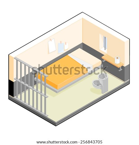 A vector illustration of an isometric prison cell. Isometric prison cell. Isometric Prison Incarceration. - stock vector
