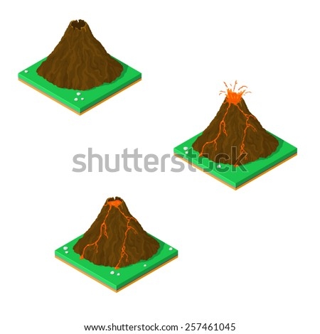 A vector illustration of an isometric volcano in three different states. Isometric Volcano Icon. Volcano in different states - stock vector