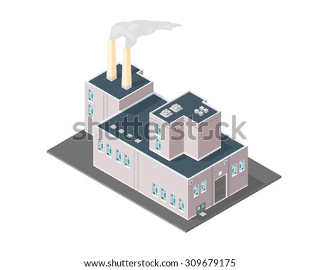 A vector illustration of an old style retro factory or production facility. Isometric Vintage Factory icon illustration. Old power plant station building. - stock vector