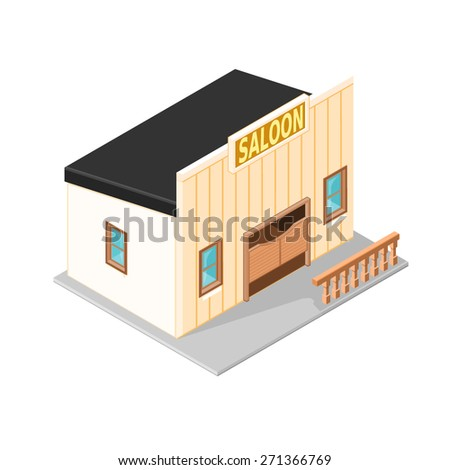 A vector illustration of an old wild west American saloon. wild west American saloon bar illustration. Vintage wild west bar building. - stock vector