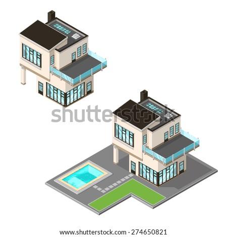 Vector illustration ultra modern isometric home vector de for Minecraft 3d blueprint maker
