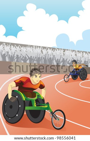 A vector illustration of athletes in wheelchair racing in a competition inside a stadium - stock vector
