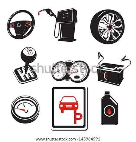 A vector illustration of auto icons - stock vector