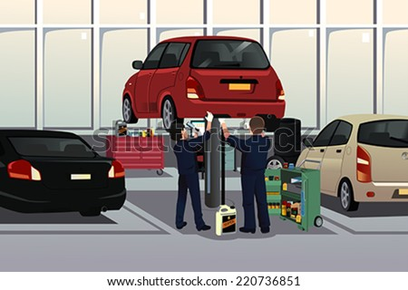 A vector illustration of auto mechanic fixing a car under the hood in the auto repair garage - stock vector