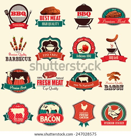 A vector illustration of barbecue icon sets - stock vector