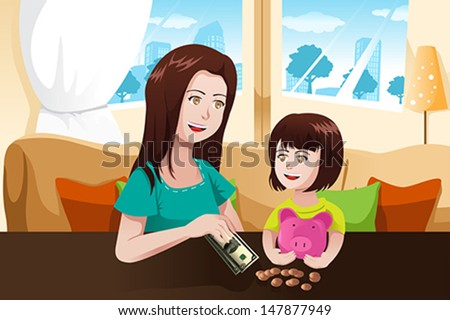 A vector illustration of beautiful mother giving money to her daughter and saving it to a piggy bank - stock vector