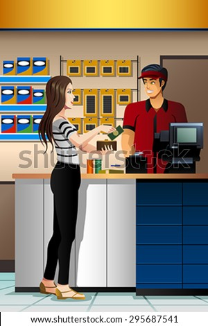 A vector illustration of beautiful Woman Paying the Cashier at the Store - stock vector