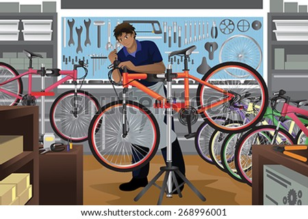 A vector illustration of bike repairman repairing a bicycle in his shop - stock vector