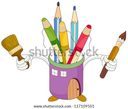 A vector illustration of brushes, colored pencils and crayons in a cup