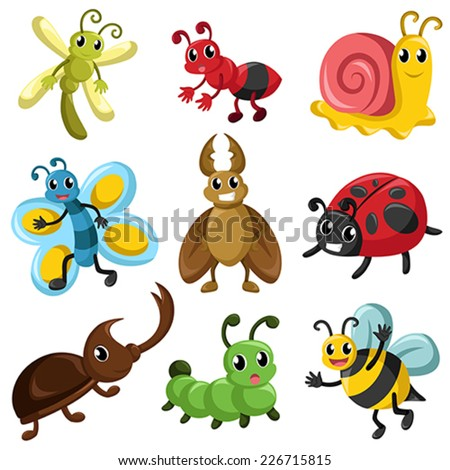 A vector illustration of bug icon sets