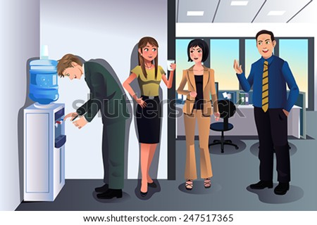 A vector illustration of business people chatting near a water cooler in the office - stock vector