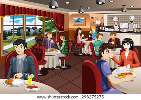 A vector illustration of business people having lunch together - stock vector