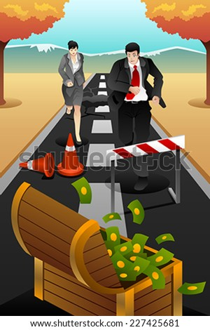 A vector illustration of business people running on the road for business concept of reaching goal - stock vector