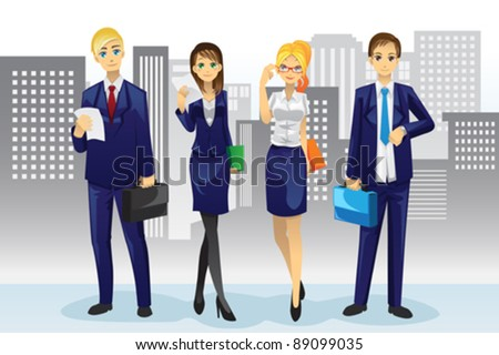 A vector illustration of business people standing in front of office buildings - stock vector