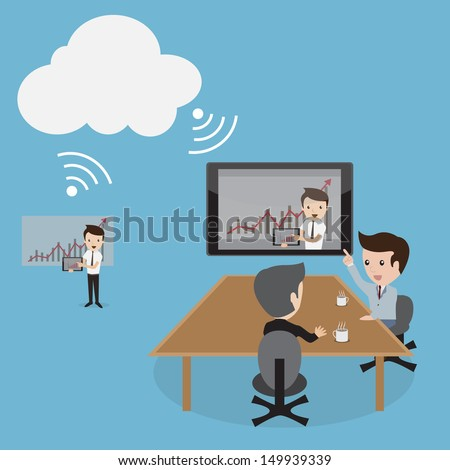 A vector illustration of business people video conferencing by Cloud computing technology. - stock vector