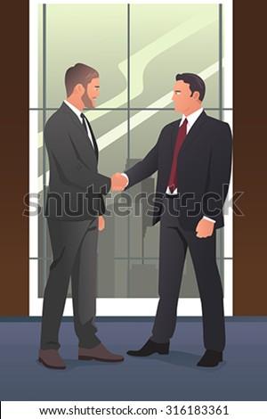 A vector illustration of businessmen shaking hands - stock vector