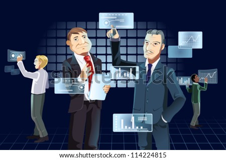 A vector illustration of businessmen working with new technology - stock vector