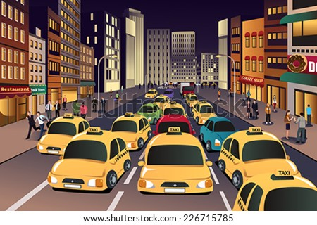 Busy City Clipart Busy City in The Evening
