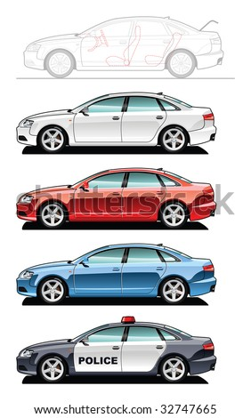 A Vector illustration of cars. (Simple gradients only - no gradient mesh.) - stock vector
