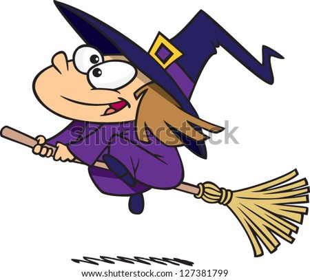 A vector illustration of cartoon girl dressed in a witch costume for Halloween and riding a broomstick - stock vector