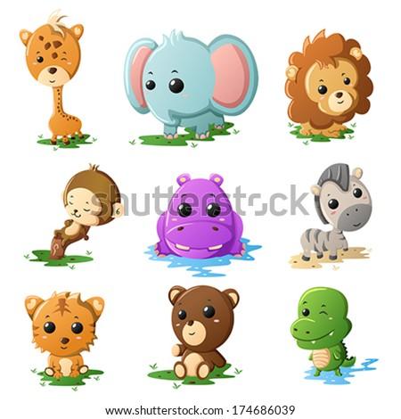 A vector illustration of cartoon wildlife animal icons - stock vector
