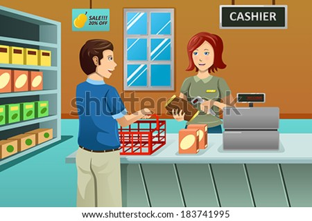A vector illustration of cashier working in the grocery store serving a customer - stock vector