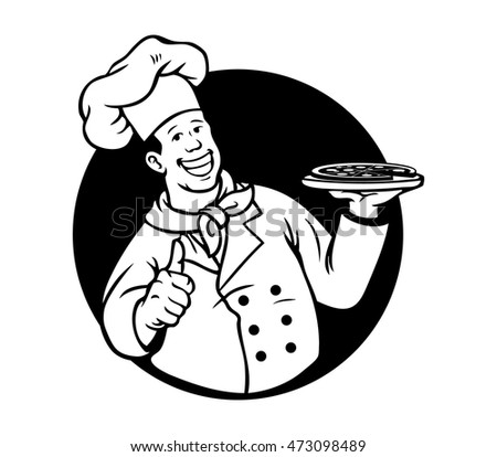 A vector illustration of chef cooking pizza.